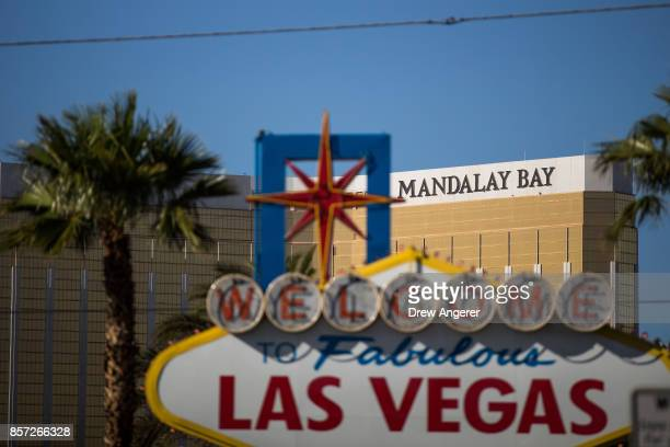 A view of the Mandalay Bay Resort and Casino October 3 2017 in Las Vegas Nevada Late Sunday night a lone gunman killed over 50 people and injured...