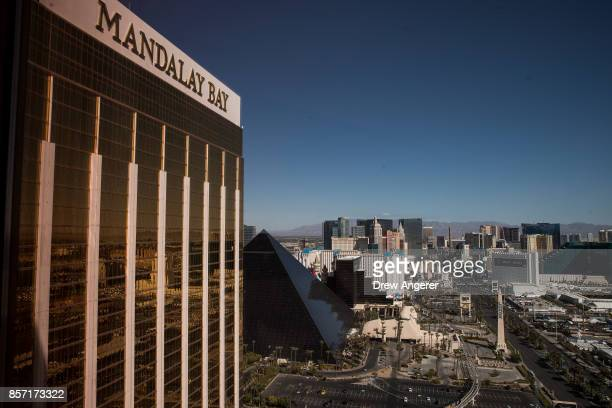 A view of the Mandalay Bay Resort and Casino overlooking the Las Vegas Strip after a mass shooting at a music concert October 3 2017 in Las Vegas...