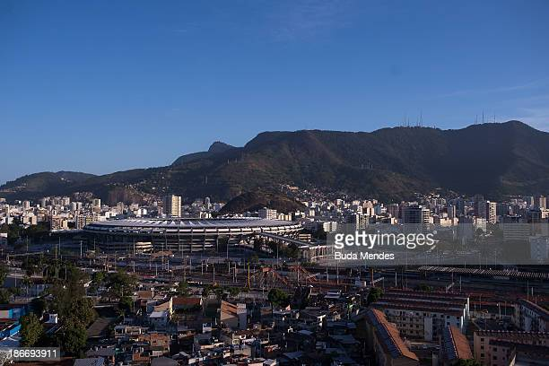 A view of the Mangueira pacified community or shantytown which is located close to the famed Maracana Stadium on November 2 2013 in Rio de Janeiro...
