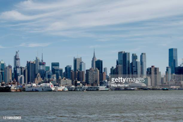 View of the Manhattan Skyline on April 19, 2020 in West New York, New Jersey. COVID-19 has spread to most countries around the world, claiming more...