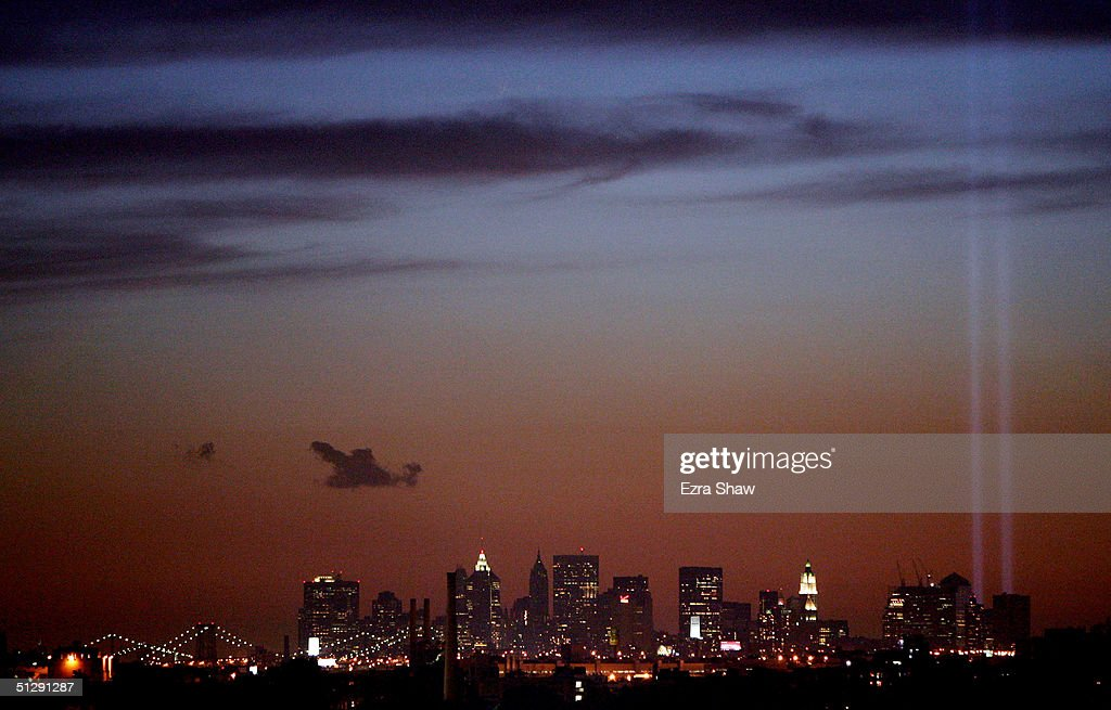 A view of the Manhattan skyline showing the September 11 twin tower light tribute prior to the women's final during the US Open September 11, 2004 at the USTA National Tennis Center in Flushing Meadows Corona Park in the Flushing neighborhood of the Queens borough of New York.