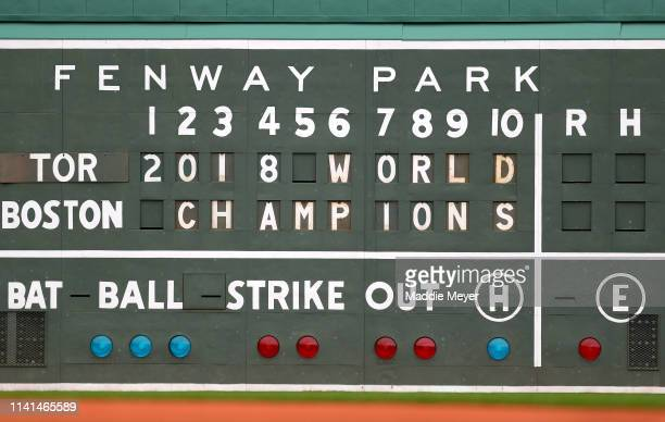 A view of the manual scoreboard before the home opener between the Toronto Blue Jays and the Boston Red Sox at Fenway Park on April 09 2019 in Boston...