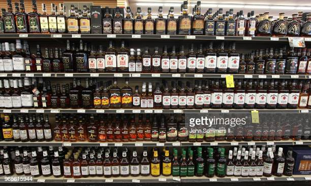A view of the many different types of Kentucky bourbon that are produced in Kentucky at a Party Mart liquor store on June 1 in Louisville Kentucky...