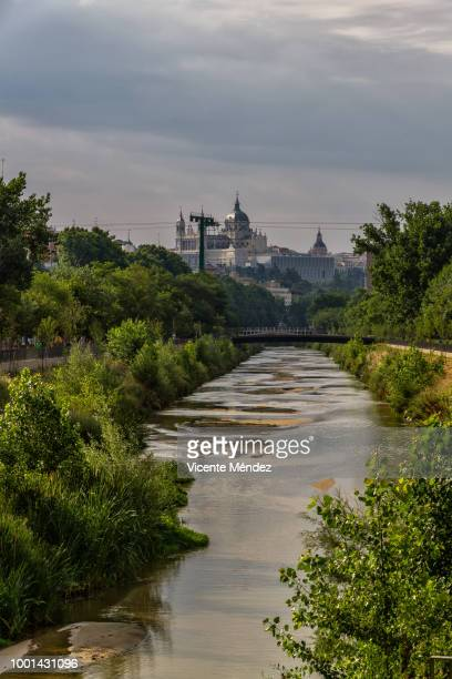 View of the Manzanares River with the Cathedral of La Almudena in the background