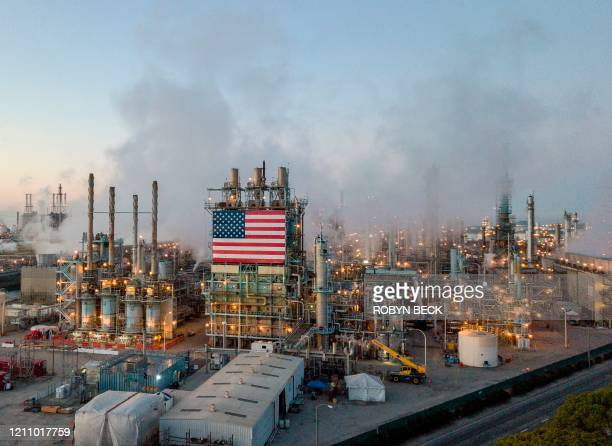 A view of the Marathon Petroleum Corp's Los Angeles Refinery in Carson California April 25 2020 after the price for crude plunged into negative...