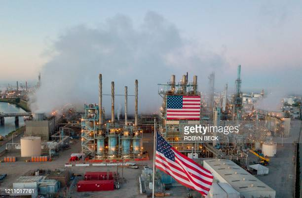 TOPSHOT A view of the Marathon Petroleum Corp's Los Angeles Refinery in Carson California April 25 2020 after the price for crude plunged into...