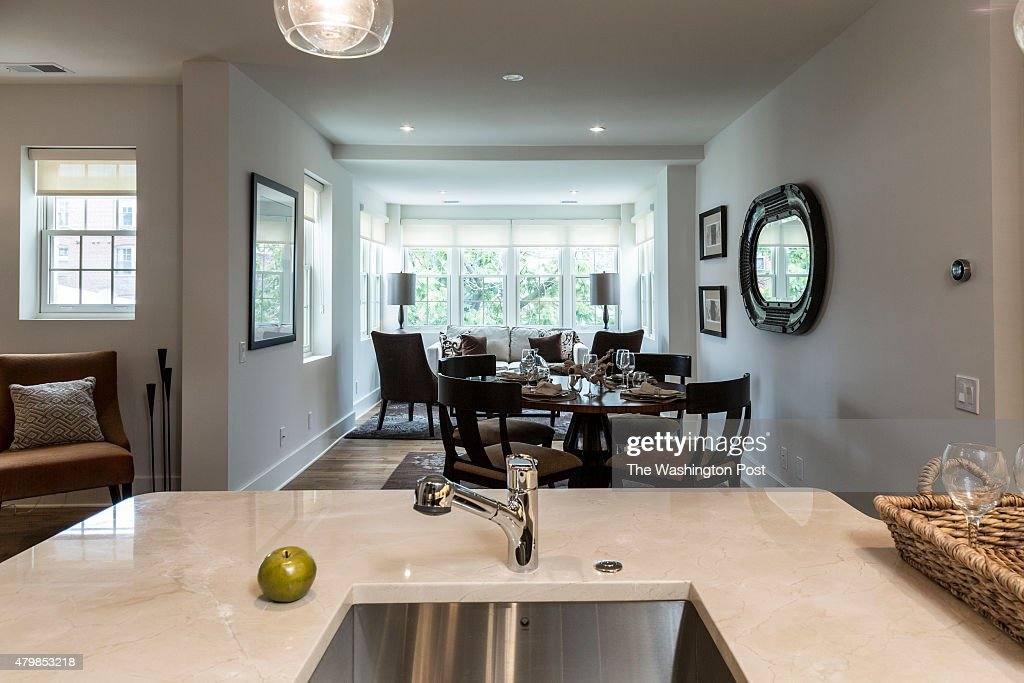 View Of The Marble Kitchen Counter Top And Living Area In Model Unit News Photo Getty Images