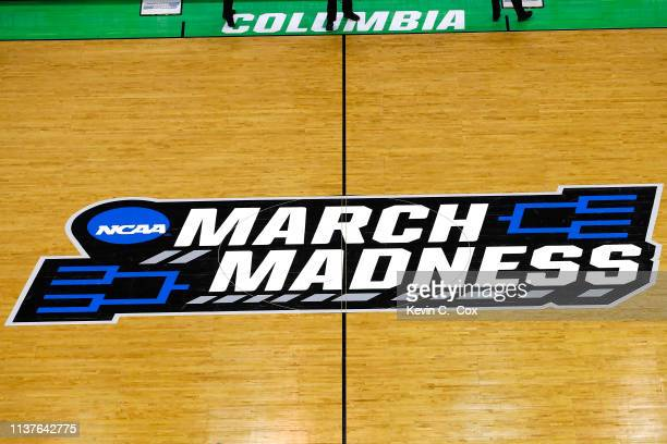 View of the March Madness logo prior to the game between the Duke Blue Devils and the North Dakota State Bison during the first round of the 2019...