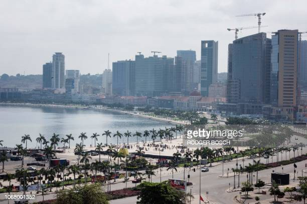 A view of the Marginal and highrise buildings in the city of Luanda on November 11 the capital of Angola Many buildings in the city centre are...