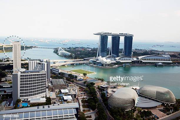 A view of the Marina Bay Sands and the Singapore River on March 9 2015 in Singapore