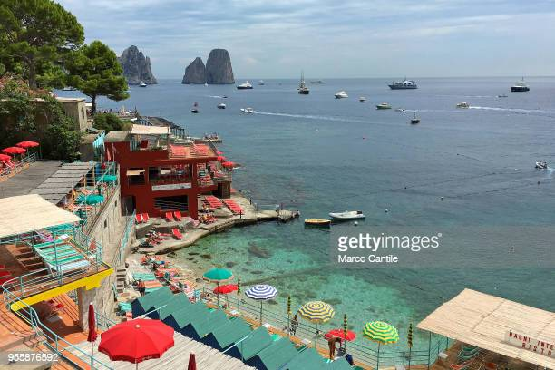 A view of the Marina Piccola at faraglioni in Capri