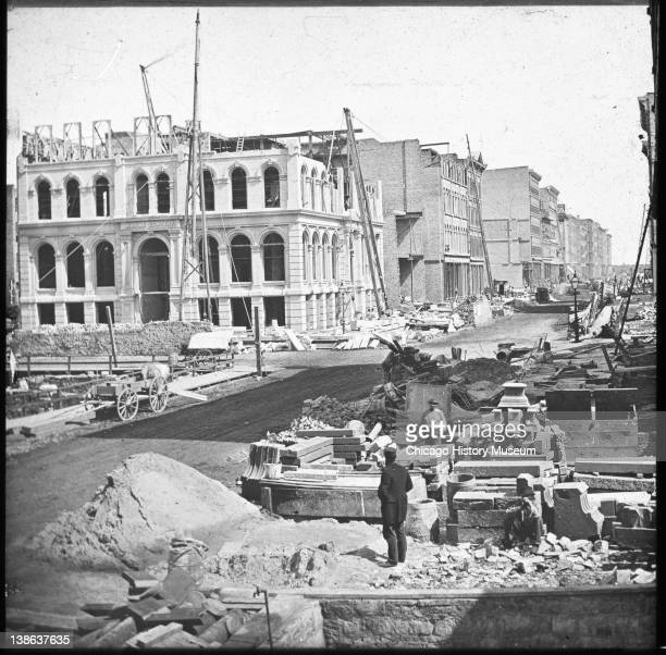 View of the Marine Bank building as it was being rebuilt after the Great Chicago Fire northeast corner of Lake and LaSalle Streets Chicago Illinois...