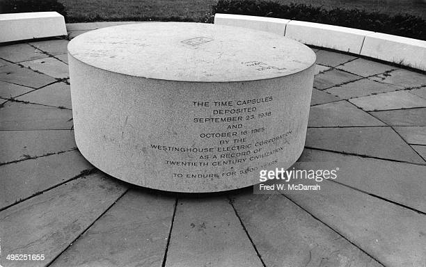 View of the marker that indicates the location of time capsules buried during the 1939 and 1964 New York World's Fairs Flushing Medows New York New...