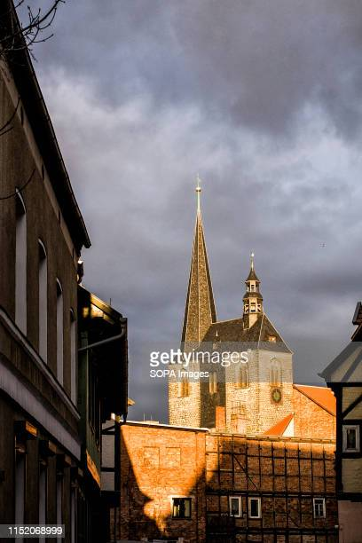 A view of the Market Church at the historic center of Quedlinburg an Unesco World Heritage Site in Quedlinburg