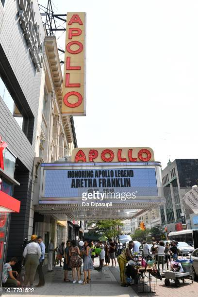 A view of the marquee as Aretha Franklin is remembered at the Apollo Theater on August 16 2018 in New York City Franklin passed away on August 16...
