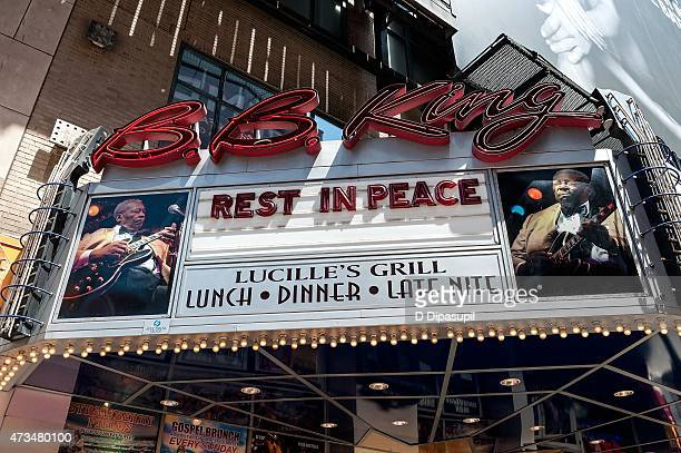 A view of the marquee as BB King is remembered at the BB King Blues Club Grill on May 15 2015 in New York City King passed away on May 14 2015 at the...