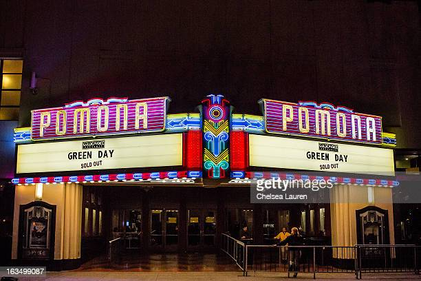 A view of the marquee as Green Day performs at Fox Theater on March 10 2013 in Pomona California