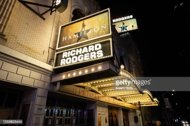 View of the marquee at Hamilton: An American Musical at the Richard Rodgers Theatre as New York City moves into Phase 2 of re-opening following...
