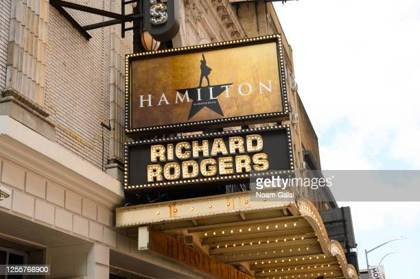 View of the marquee at Hamilton: An American Musical at the Richard Rodgers Theatre as New York City moves into Phase 3 of re-opening following...