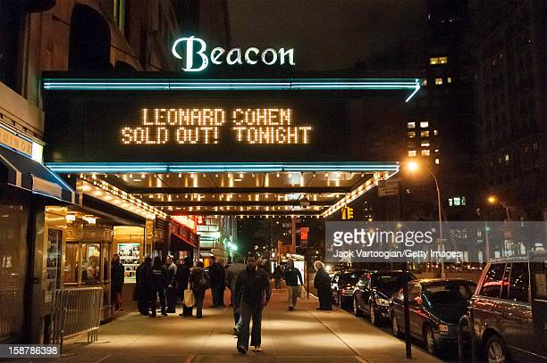 View of the marquee at the Beacon Theatre which reads 'Leonard Cohen Sold Out Tonight' New York New York February 19 2009 It was Cohen's first New...