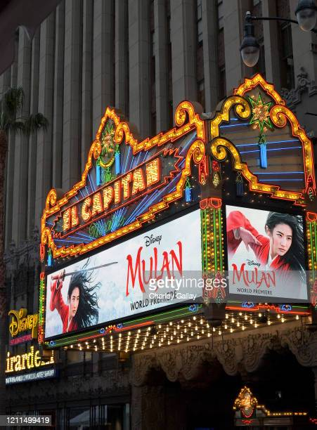 View of the marquee at the World Premiere of Disney's 'MULAN' at the Dolby Theatre on March 09 2020 in Hollywood California