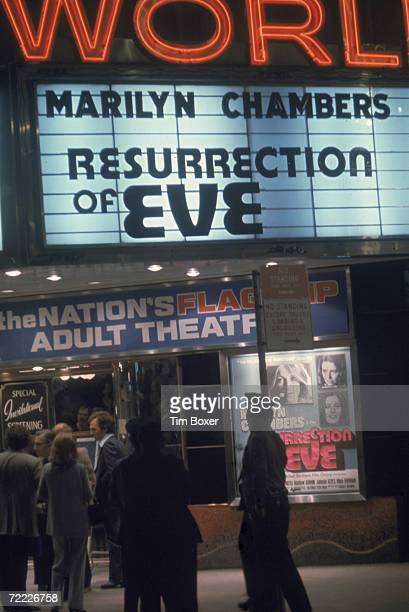 View of the marquee at the World Theatre on 49th Street in Times Square 1973 The theatre described as the 'Nation's Flagship Adult Theatre' hosts the...