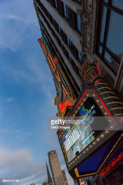 View of the marquee during a Soundgarden concert at the Fox Theatre May 17 2017 in Detroit Michigan Soundgarden frontman Chris Cornell passed away...