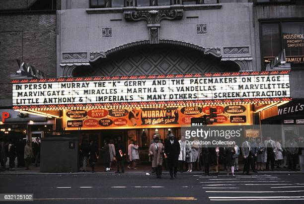 A view of the Marquee for Murray The K's Easter Show at the Brooklyn Fox Theater featuring Gerry and the Pacemakers Marvin gaye the Miracles Martha...