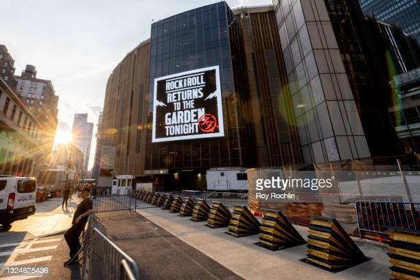 View of the marquee for the Foo Fighters show as Madison Square Garden reopens with the first full capacity concert since March 2020 on June 20, 2021...