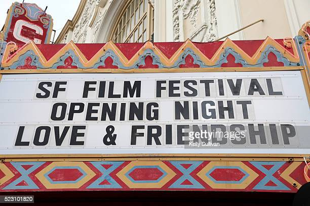 View of the marquee for the opening night of the 59th San Francisco International Film Festival at the Castro Theatre on April 21 2016 in San...