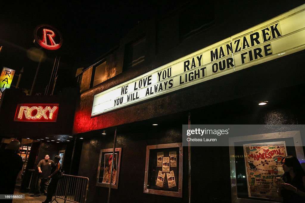 A view of the marquee honoring the death of Ray Manzarek of the Doors at the & Legendary L.A. Rock Clubs The Roxy And Whisky A Go Go Honor Ray ...