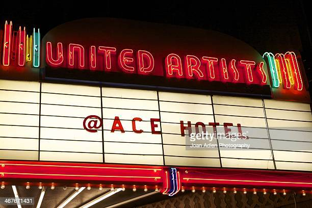 A view of the Marquee of the Ace Hotel located in the historic United Artists Building on Broadway on February 1 2014 in Downtown Los Angeles...