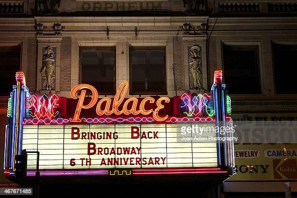 A view of the Marquee of the Palace Theatre on Broadway on February 1 2014 in Downtown Los Angeles California