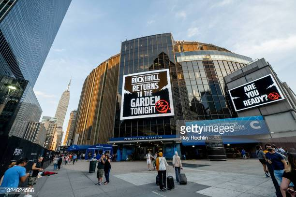 View of the marquees for the Foo Fighters show as Madison Square Garden reopens with the first full capacity concert since March 2020 on June 20,...