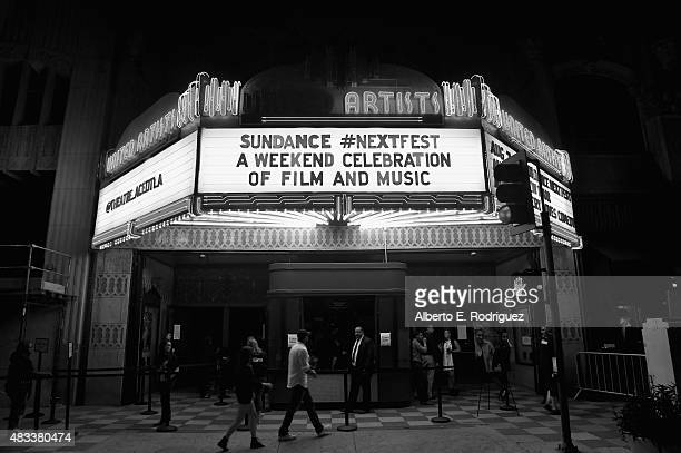 A view of the marquis of the Theatre at Ace Hotel at the 'Mistress America' Los Angeles premiere during the Sundance NEXT FEST at The Theatre at Ace...