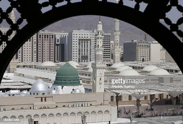 A view of the Masjid alNabawi on October 19 2013 in Madina Saudi Arabia The muslim pilgrims who started their holy Hajj journey from Mecca start to...