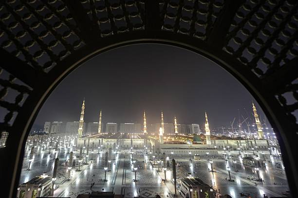 View of the Masjid al-Nabawi , where the tomb of Prophet Mohammad is located, in Medina, Saudi Arabia on September 28 while the Muslim pilgrims...