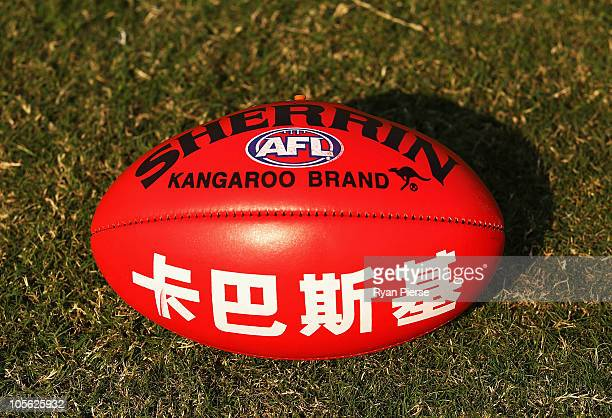 A view of the match ball before during the AFL Kaspersky Cup Shanghai Showdown match between the Brisbane Lions and the Melbourne Demons at Jiangwan...