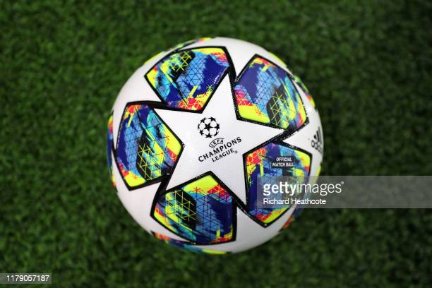 View of the match ball during the UEFA Champions League group H match between Chelsea FC and Valencia CF at Stamford Bridge on September 17, 2019 in...