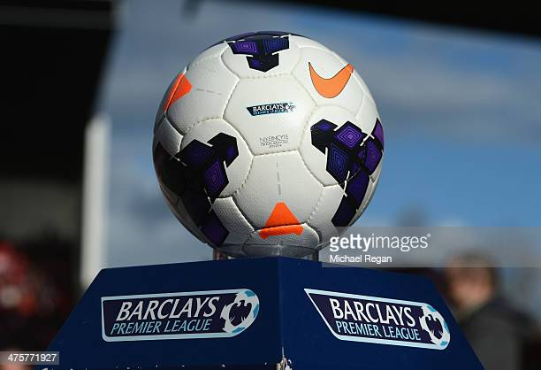 View of the match ball prior to the Barclays Pemier League match between Stoke City and Arsenal at the Britannia Stadium on March 1 2014 in Stoke on...