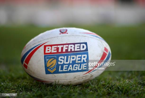 A view of the match ball prior to the Betfred Super League match between Salford Red Devils and London Broncos at AJ Bell Stadium on February 10 2019...