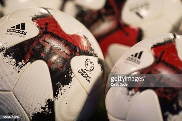 View of the match balls ahead of the FIFA 2018 World Cup Qualifier between Spain and Albania at Estadio Jose Rico Perez on October 6 2017 in Alicante...