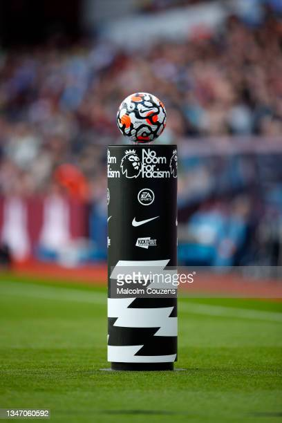 """View of the matchball on a plinth with a """"No Room for Racism"""" logo during the Premier League match between Aston Villa and Wolverhampton Wanderers at..."""