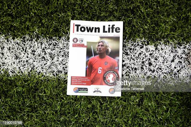 View of the matchday programme with an image of Robbie Savage on the cover prior to the North West Counties Football League First Division between...