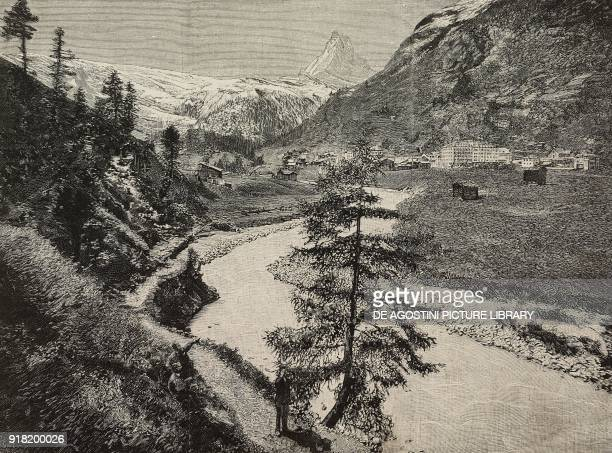 View of the Matterhorn from Zermatt Switzerland engraving after a photo from L'Illustrazione Italiana Year XX No 34 August 20 1893