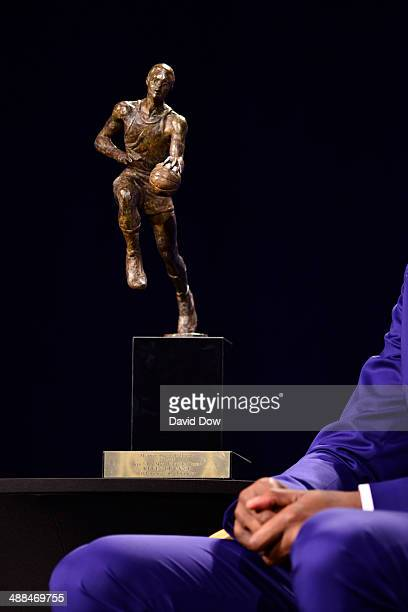 View of the Maurice Podoloff Trophy for the 2013-14 KIA Player of the Year award during a press conference on May 6, 2014 at the Thunder Events...