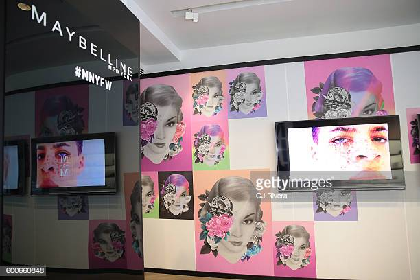 A view of the Maybelline booth at the Shop Happy Hour /Colgate Illustrator Activation during New York Fashion Week The Shows on September 2016 on...