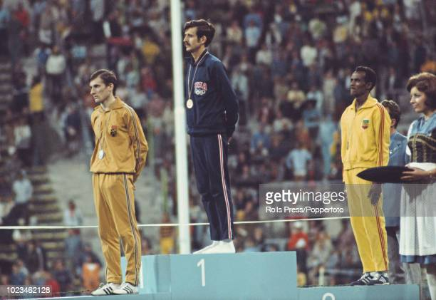 View of the medal winners of the Men's marathon event with from left silver medallist Karel Lismont of Belgium gold medallist Frank Shorter of the...