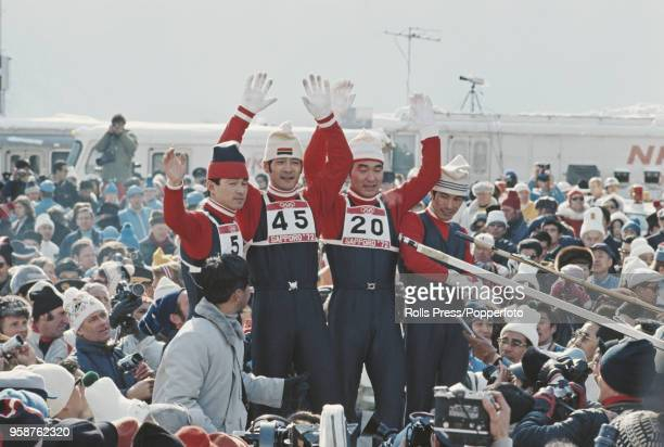 View of the medal winners of the Men's normal hill individual ski jumping competition with, from left, silver medallist Akitsugo Konno of Japan, gold...
