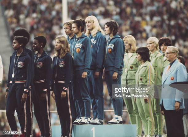 View of the medal winners of the Women's 4 x 400 metres relay event with from left silver medallists Mable Fergerson Madeline Manning Cheryl...